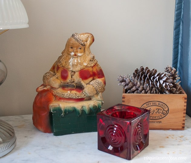 Christmas Vignette with a Vintage Santa Bank - virginiasweetpea.com