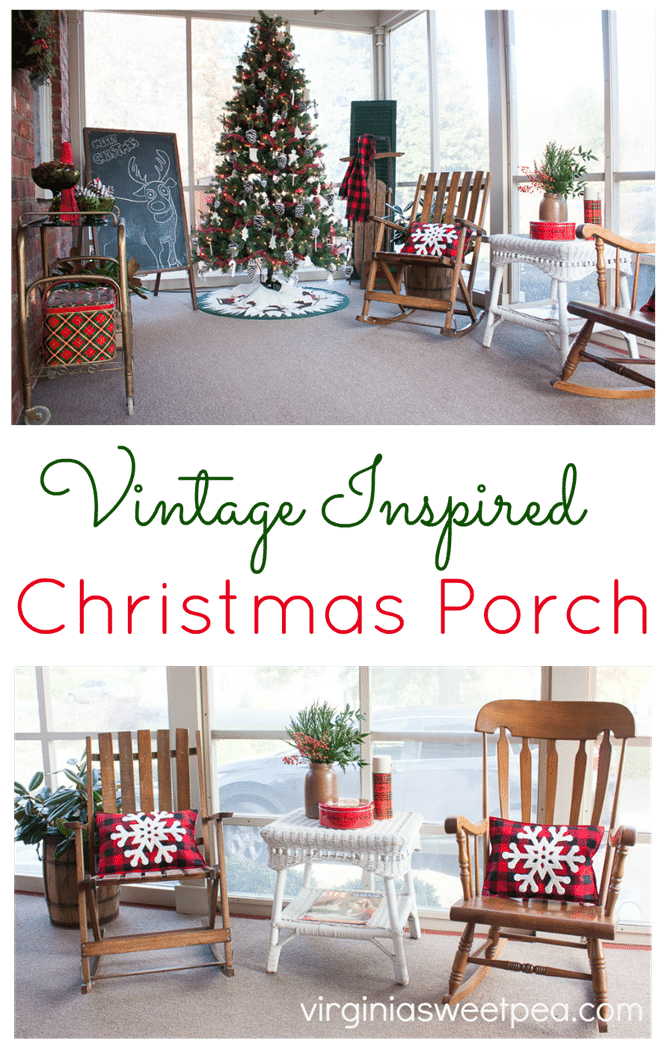 Vintage Inspired Christmas Porch - Get ideas for decorating your porch for Christmas. virginiasweetpea.com