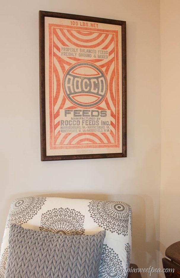 Framed Vintage Rocco Feed Sack - virginiasweetpea.com