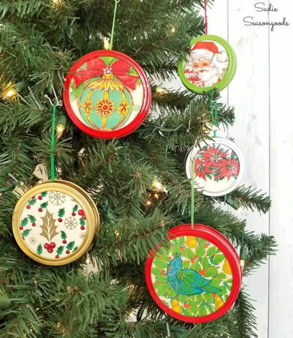 Christmas Ornaments Made with Canning Supplies and Vintage Wrapping Paper