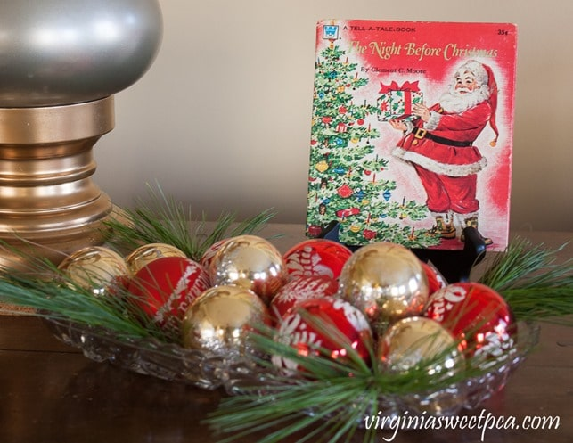 1976 Night Before Christmas Book with a Tray of vintage ornaments - virginiasweetpea.com