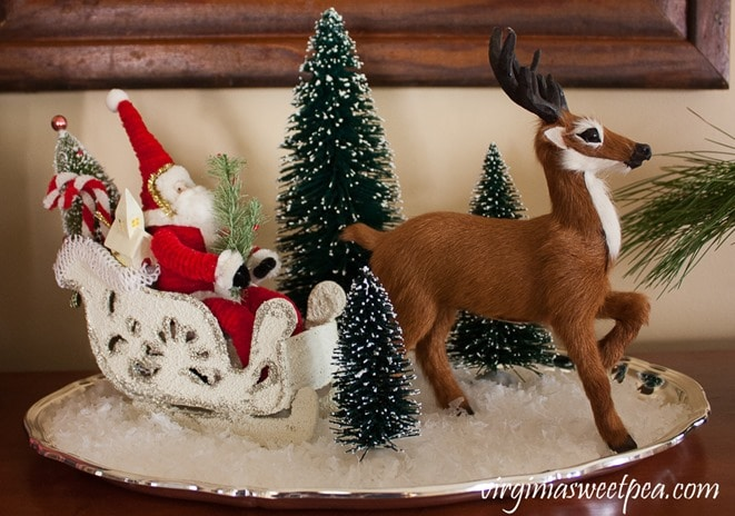 Christmas in the Family Room - Santa in his sled pulled by a Byer's reindeer. - virginiasweetpea.com