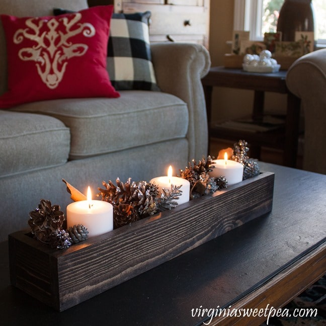 DIY Wood Box filled with candles and glittered pine cones. - virginiasweetpea.com