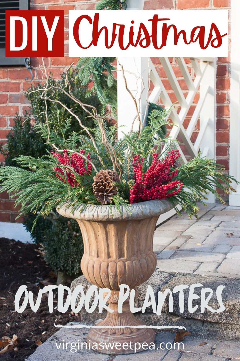 DIY Christmas Outdoor Planters - Learn how to decorated outdoor planters for Christmas  by following this step-by-step tutorial that uses greenery, berries, branches, and pinecones.   via @spaula