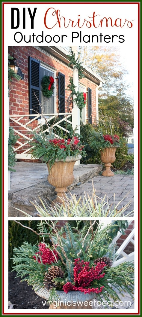 DIY Christmas Outdoor Planters - Step-by-step tutorial for making these for your home. virginiasweetpea.com