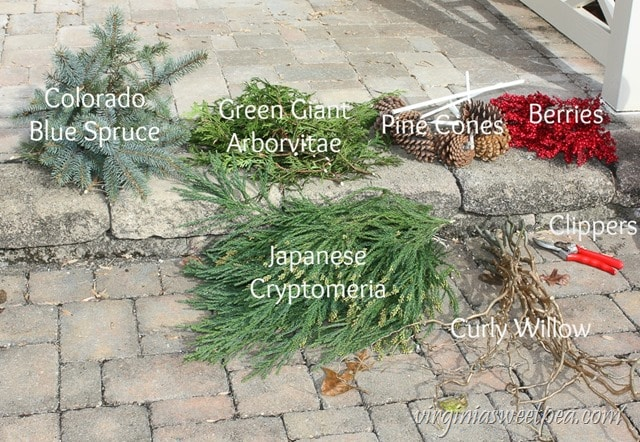 DIY Christmas Outdoor Planters - Supplies Needed - virginiasweetpea.com
