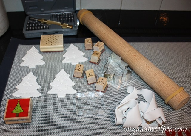 Making clay Christmas ornaments