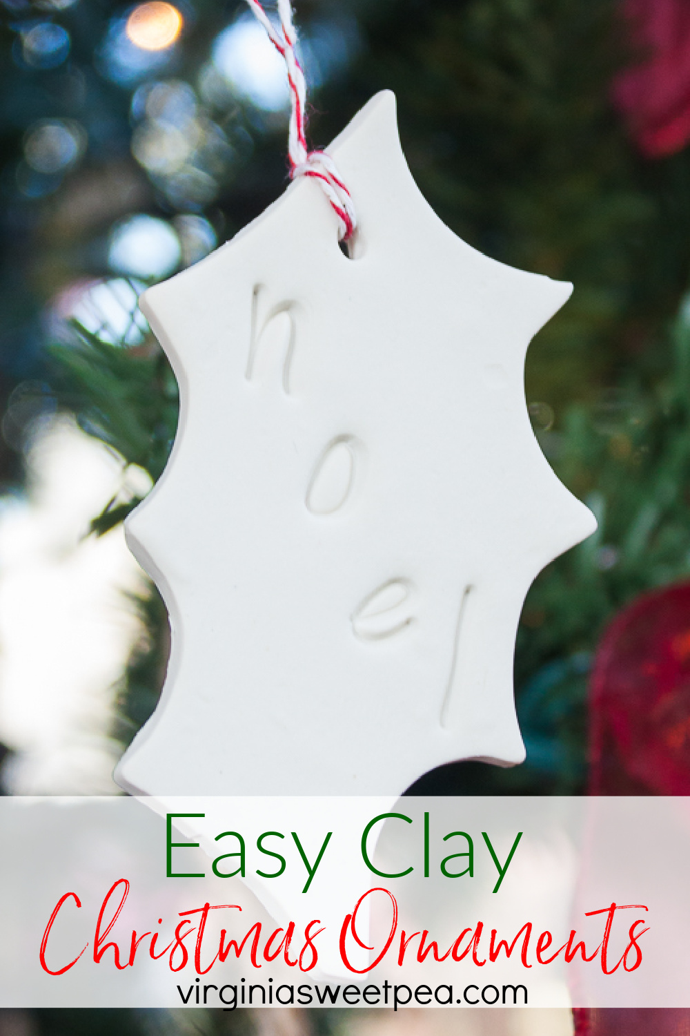 Easy Clay Christmas Ornaments - Clay Christmas ornaments are so easy to make with cookie cutters and a stamp set.  Add words, a name or even a monogram to each ornament to create a unique ornament to be enjoyed for years to come. via @spaula