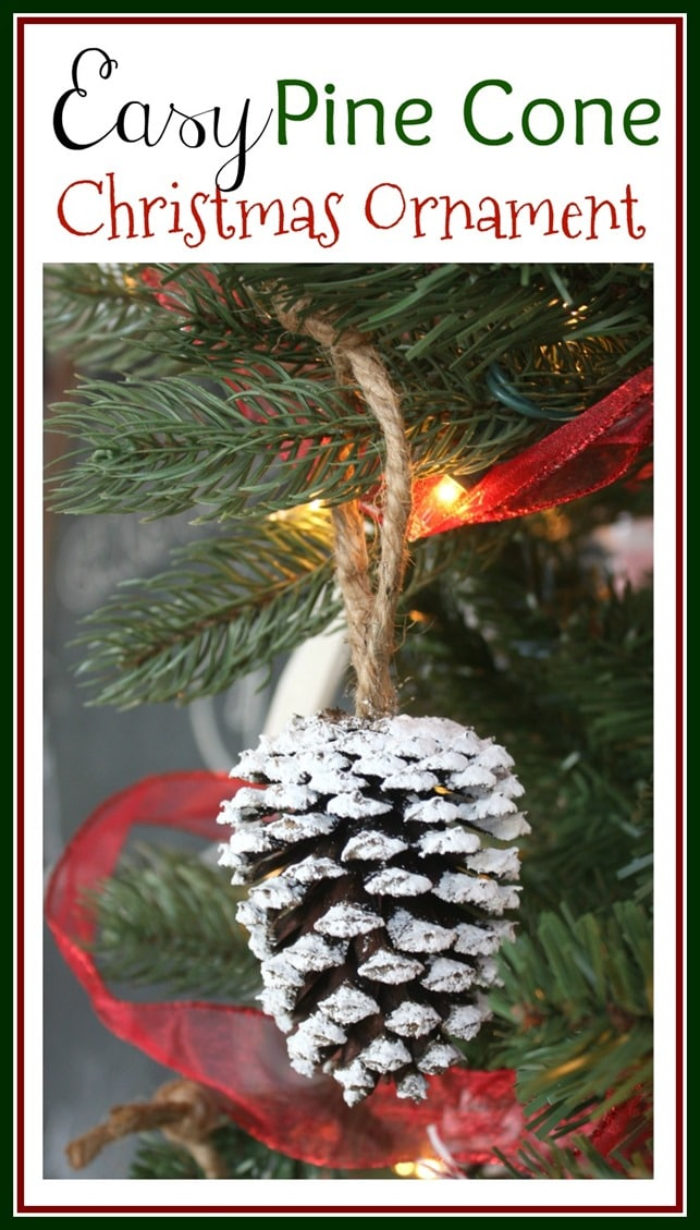 Easy Pine Cone Christmas Ornament - Get the tutorial to make this ornament for your tree. virginiasweetpea.com