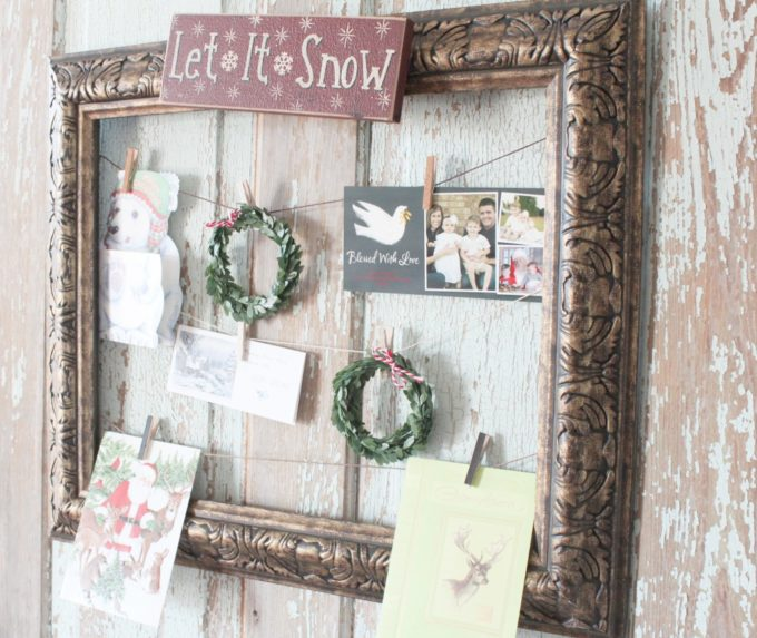 How to Make a DIY Christmas Card Holder using a Frame