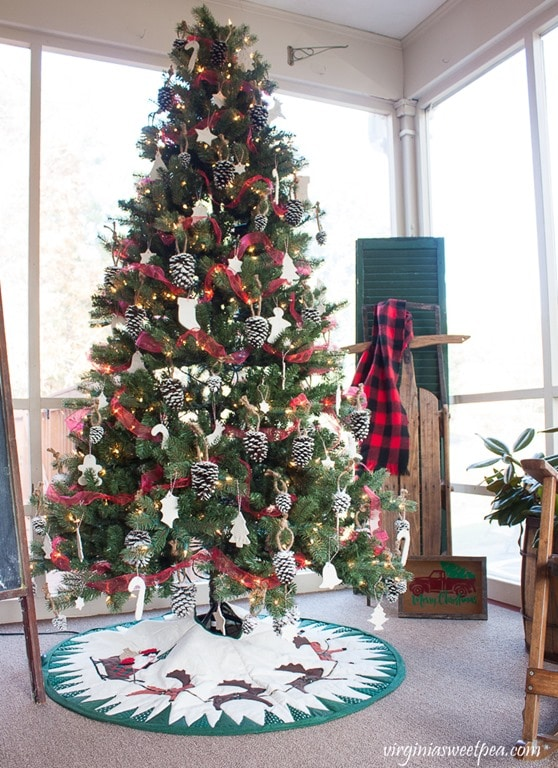 Christmas Tree Decorated with Handmade Ornaments - virginiasweetpea.com