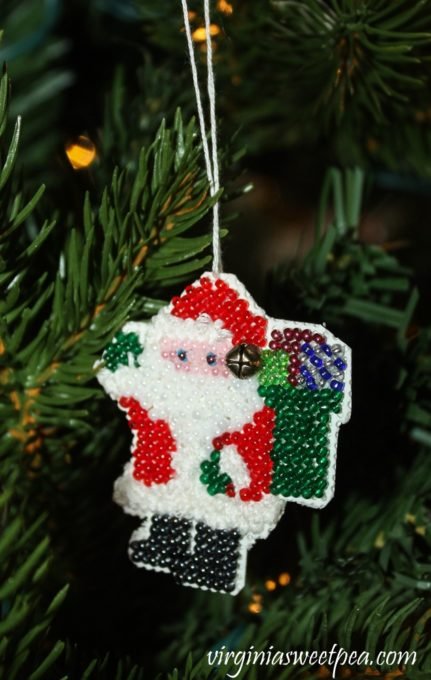Handmade Beaded Santa Ornament - virginiasweetpea.com