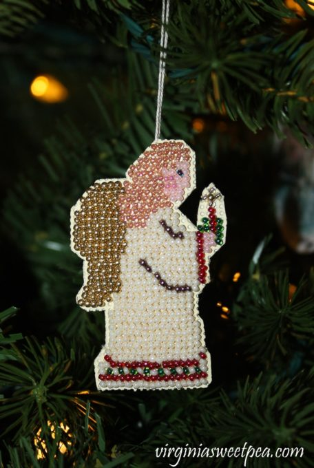 Handmade Beaded Cross Stitch Christmas Ornament - virginiasweetpea.com