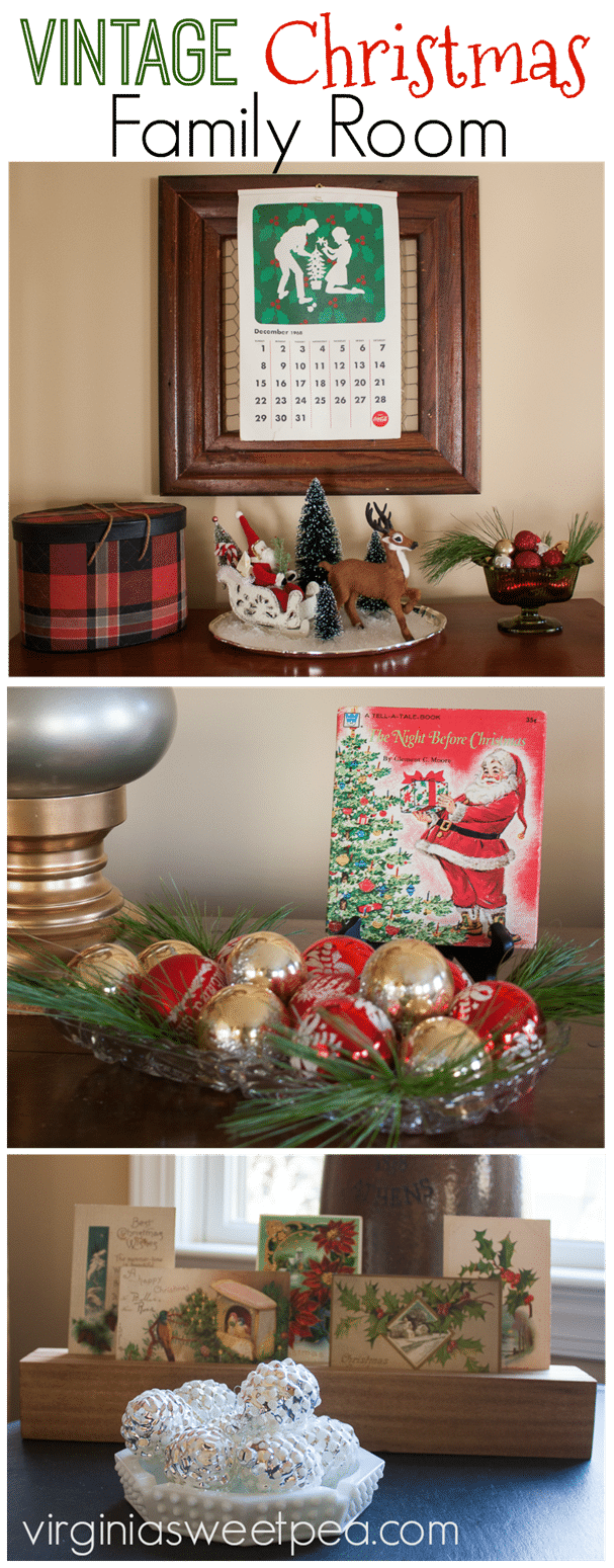 Vintage Christmas in the Family Room - Tour a rom decorated for Christmas with a collection of both vintage and modern decor. virginiasweetpea.com