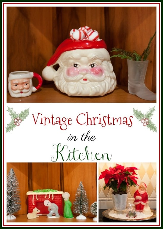 Vintage Christmas Kitchen Decor - See a kitchen decorated for Christmas with vintage finds. virginiasweetpea.com