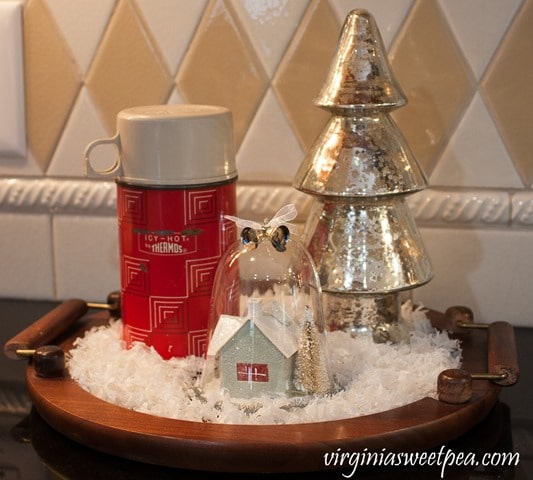 Red Thermos in a Christmas Kitchen - Vintage Christmas Vignette - See a kitchen decorated for Christmas with vintage finds. virginiasweetpea.com