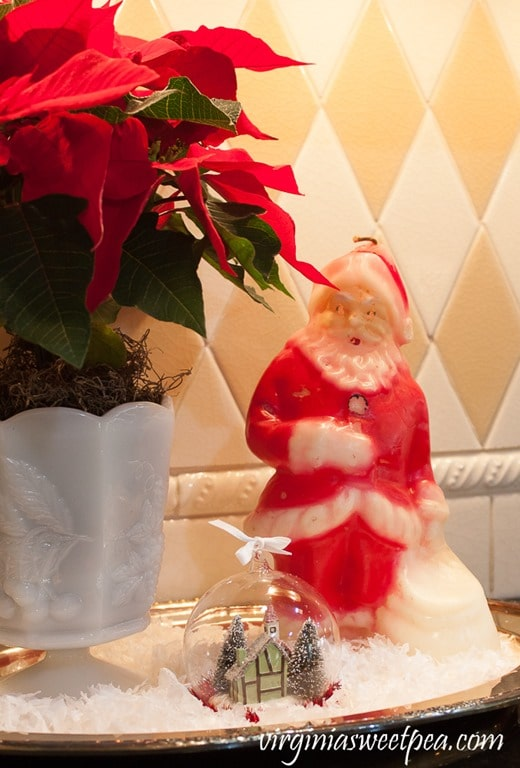 Vintage Santa Candle - See a kitchen decorated for Christmas with vintage finds. virginiasweetpea.com