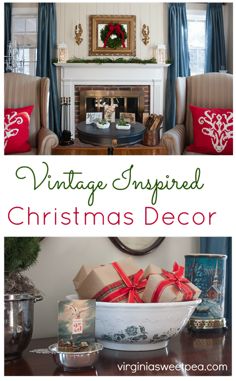 Christmas in the Living Room - This home is decorated for Christmas using mostly vintage items. virginiasweetpea.com