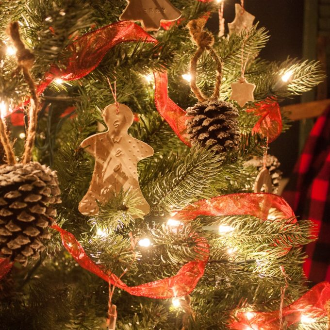 Christmas Tree Decorated with Handmade Ornaments
