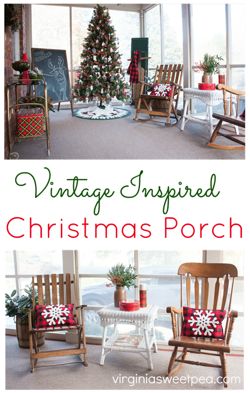 Christmas Porch - This charming porch is decorated for Christmas with mostly vintage items. virginiasweetpea.com