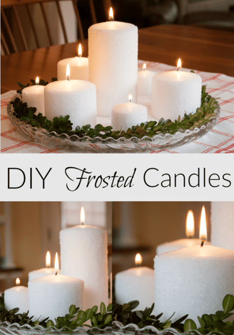 Easy Frosted Candle Centerpiece - Learn how to make your own frosted candles to use in a centerpiece. virginiasweetpea.com #centerpiece #candles #frostedcandles