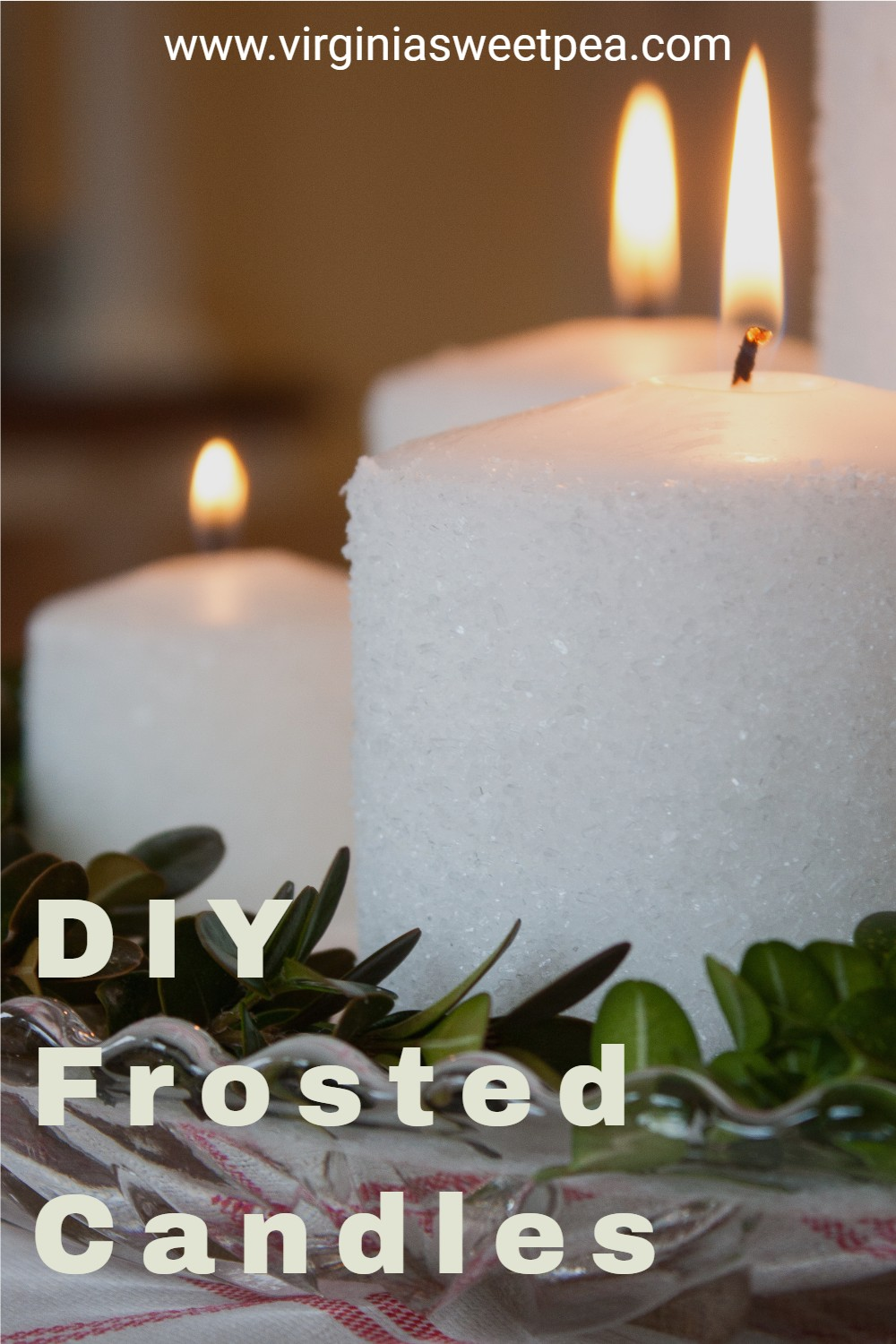 DIY Frosted Candles - Candles rolled in Epsom salt to give them a snow-kissed look are perfect to use for Christmas or winter decorating.  This is easy to make craft looks spectacular! via @spaula