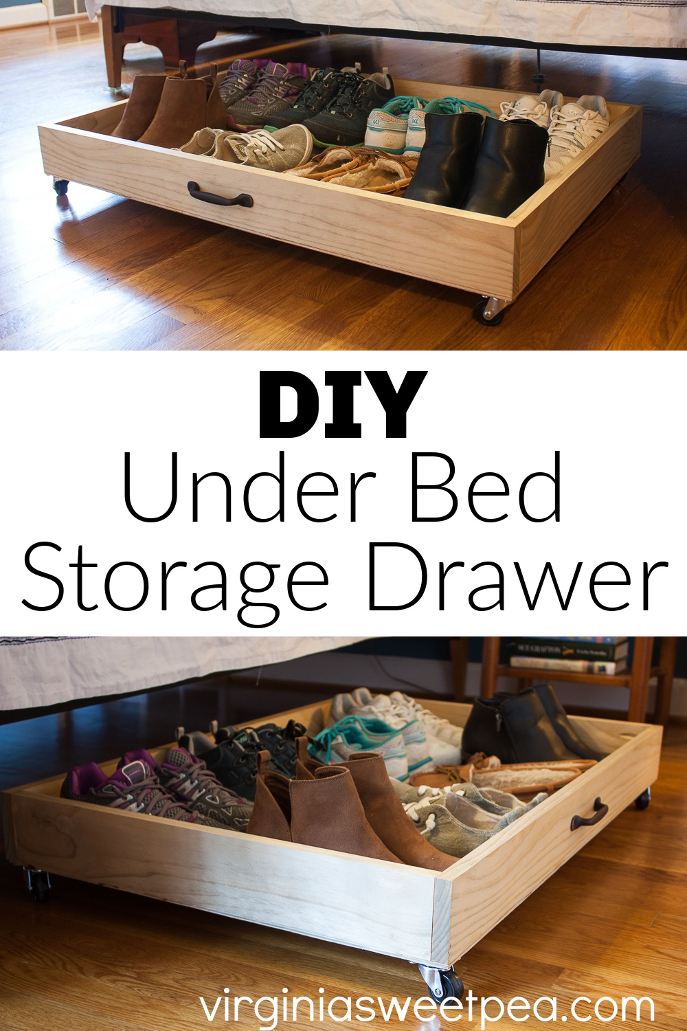 DIY Under Bed Storage Drawer - Don't let empty space under your bed go to waste! Utilize it with a DIY Under Bed Storage Drawer. The drawer holds eight pairs of shoes and easily slides under the bed thanks to swivel wheels. This also would be helpful for storing clothing or gift wrap supplies. #underbedstorage #underbedstoragedrawer #rollingdrawer via @spaula