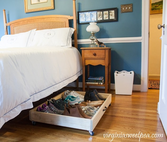 DIY Under Bed Storage Drawer - Make a drawer on wheels to store shoes under your bed. virginiasweetpea.com