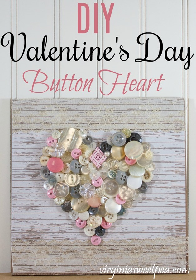 Make a cute heart to display for Valentine's Day and beyond using buttons. This is an easy craft that would be fun to complete with girlfriends or with a child. #buttoncraft #valentinecraft #valentine'sdaycraf #buttonart #buttoncraft