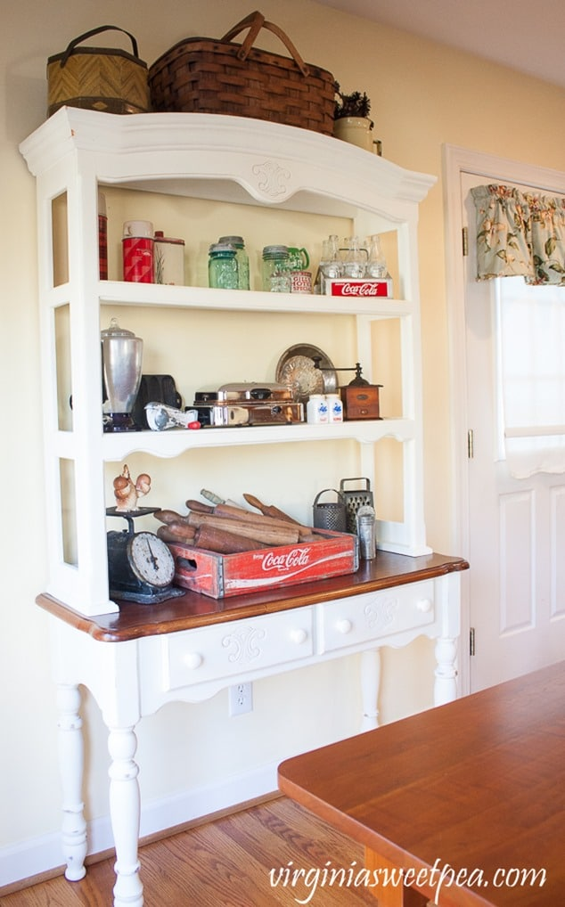Kitchen Hutch with Vintage Farmhouse Decor - Sweet Pea