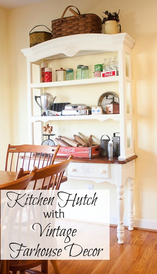 Kitchen Hutch Styled with Vintage Farmhouse Decor - Vintage farmhouse style kitchen decor fills a kitchen hutch. virginiasweetpea.com