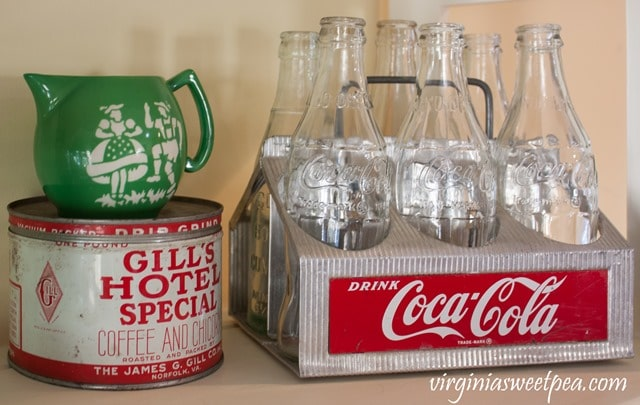 Vintage Coca-Cola Drink Caddy with a Czechoslovakian Pitcher and Gills Hotel Special Coffee and Chicory Tin from Norfolk, VA - virginiasweetpea.com