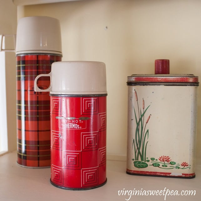 Vintage Red Plaid Thermos with a 1938 Kitchen Canister