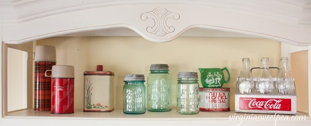 Kitchen Hutch Styled with Vintage Farmhouse Style Decor