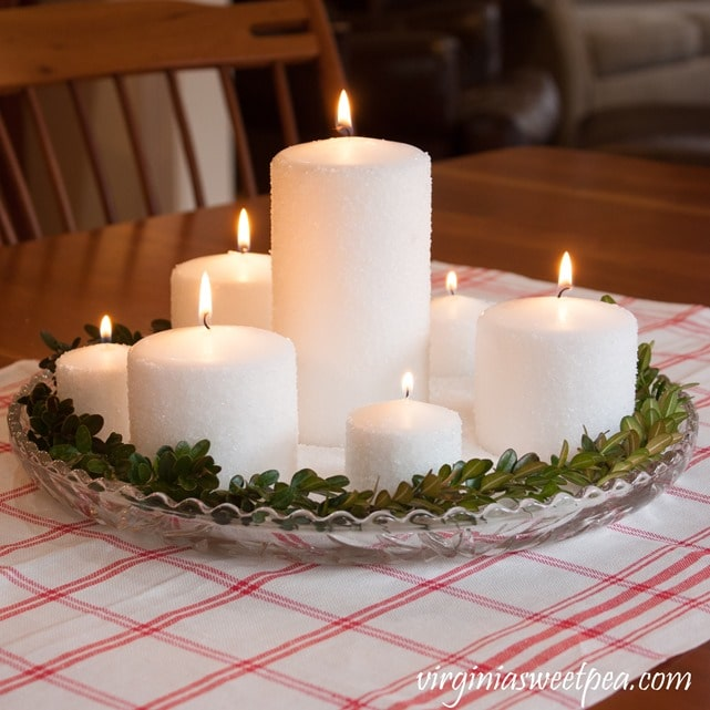 Easy Frosted Candle Centerpiece - Learn how to frost candles with this easy tutorial. virginiasweetpea.com #candles #candletutorial #diycandles #craft