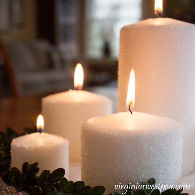 Easy Frosted Candles - Learn how to make these for your home. virginiasweetpea.com #candles #candlecraft #diycandle