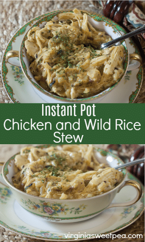 Instant Pot Chicken and Wild Rice Stew - Make this tasty stew start to finish in under 30 minutes using the Instant Pot. virginiasweetpea.com #instantpot #pressurecooking #pressurecooker #instantpotrecipe