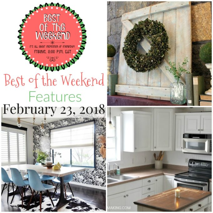 Best of the Weekend Features for February 23, 2018 - DIY Mini Barn Door for a Mantel, How to Install a Beadboard Kitchen Backsplash, and a Mid-Century Floral Dining Room Reveal