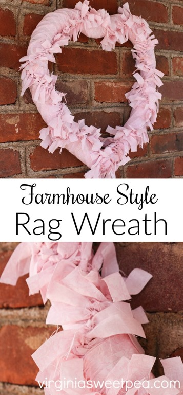 Farmhouse Style Rag Wreath - Tutorial shares how to make this.
