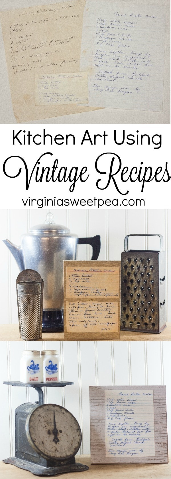 Use Vintage Recipes to Create Art for Your Kitchen - Preserve memories with this easy craft. virginiasweetpea.com
