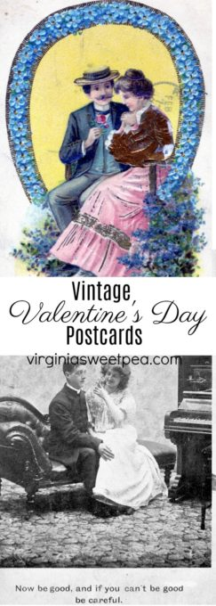A collection of vintage Valentine's Day postcards and romantic postcards.