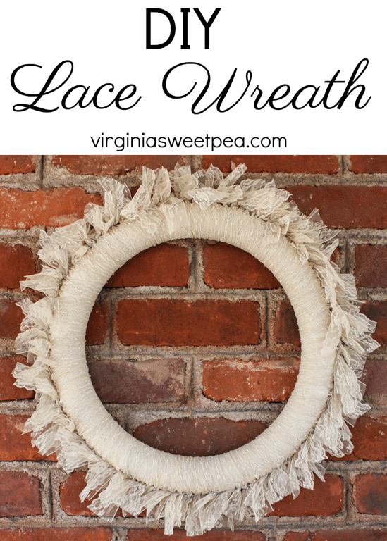 DIY Lace Wreath - This pretty wreath can be enjoyed as is or embellished for use in a particular season. virginiasweetpea.com #wreath #lacewreath #lace