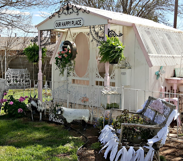 Backyard Oasis - A greenhouse turned she-shed decorated for spring - Best of the Weekend Feature for March 30, 2018