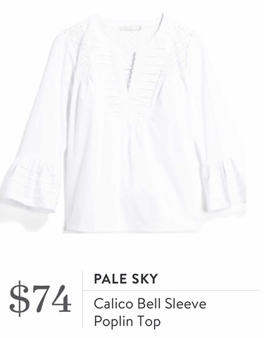 Stitch Fix Review for April 2018-Pale Sky Calico Bell Sleeve Poplin Top