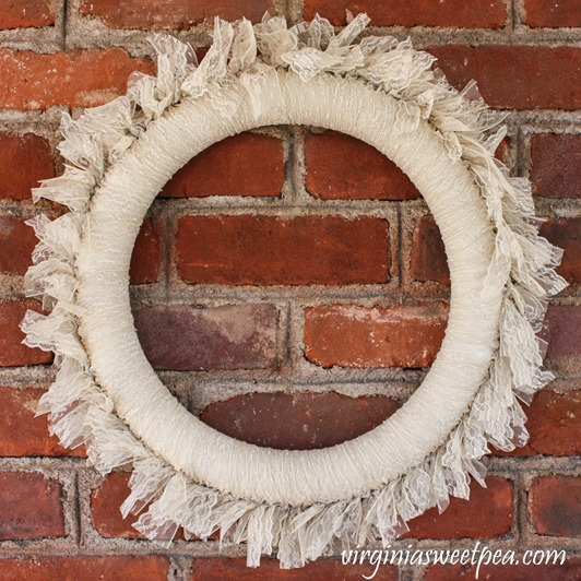 DIY Lace Wreath - This easy to make wreath is crafted using strips of lace.