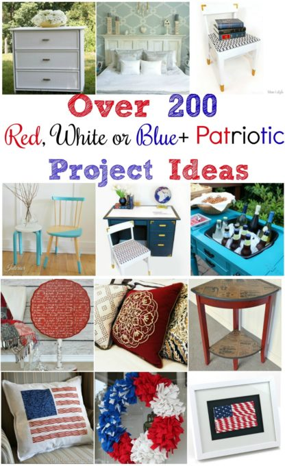 Over 200 Red, White or Blue PLUS Patriotic Projects to inspire you.  Browse this collection to get great ideas for projects that you can make for your home.