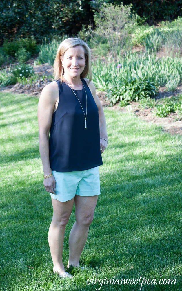 Stitch Fix Review May 2018 - Collective Concepts Edaline Back Detail Top and Level 99 Cindie Linen Short