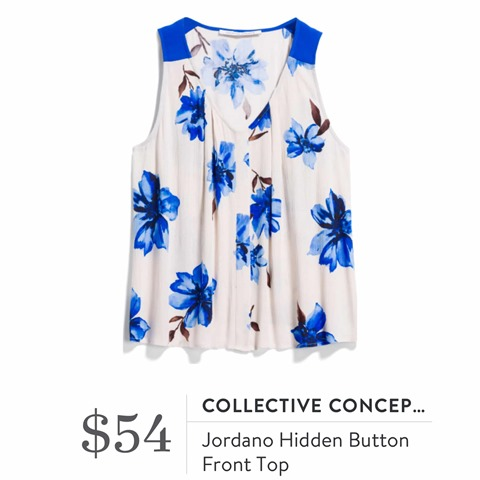 Collective Concepts Jordano Hidden Button Front Top
