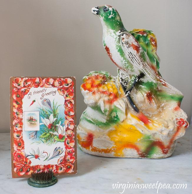 Chalkware bird and a 1911 postcard #vintage #chalkware #vintagedecor #vintagepostcard
