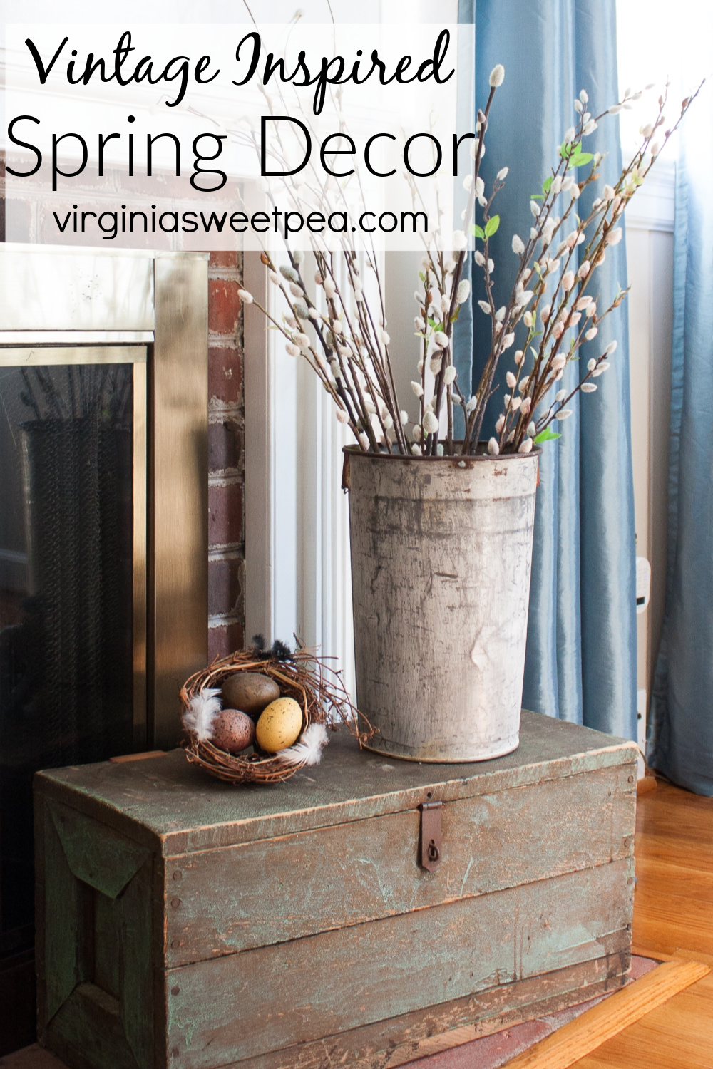 Vintage Inspired Spring Decor - A home is decorated for spring with vintage. #springdecor #springdecorating #vintagedecor via @spaula